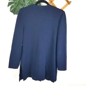St. John Sweaters - St. John | Santana Navy and Gold Knit Long Sweater